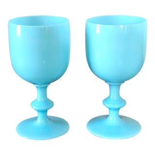 Carlo Moretti Turquoise Glasses - a Pair For Sale
