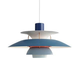 Poul Henningsen Ph 5 Pendant for Louis Poulsen in Blue For Sale