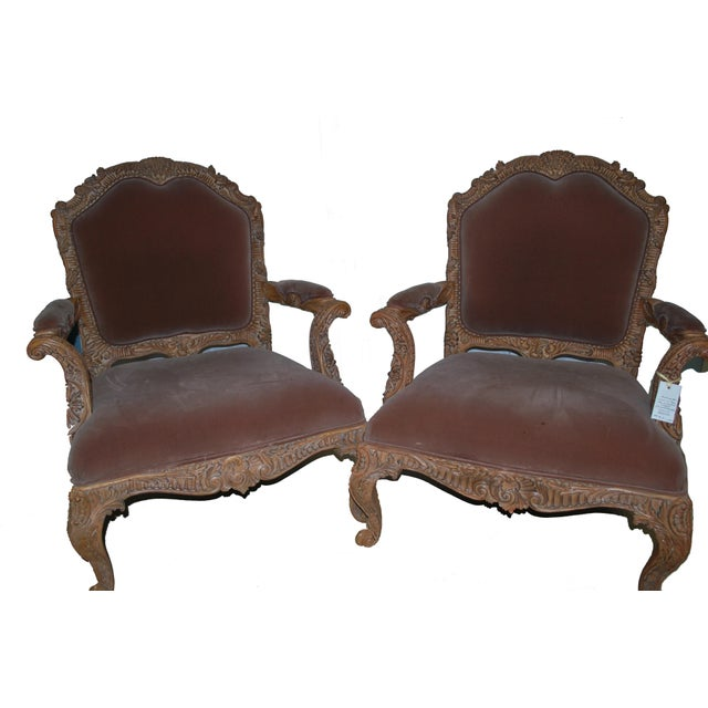 20th Century Continental Louis XV Style Hand Carved Walnut Fauteuils Armchairs- a Pair For Sale - Image 4 of 4