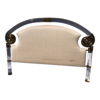 1970s Lucite and Brass Shell Motif & Linen Queen Marcelo Mioni Headboard For Sale