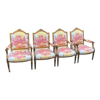 Set of 4 Antique Louis XVI Style Bergere Arm Chairs W Brunschwig & Fils Toile For Sale