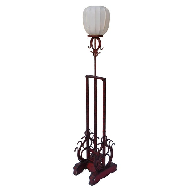 Arts & Crafts Chinese Style Red Bamboo Wood Lamp Shape Display With Carved Base Shade For Sale - Image 3 of 6