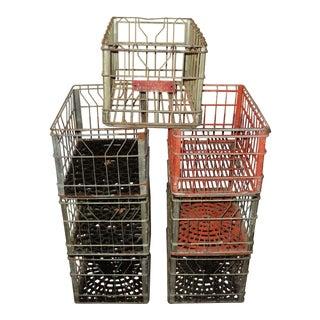 Vintage Industrial Metal Iron Milk Bottle Dairy Farm Crates - Set of 7