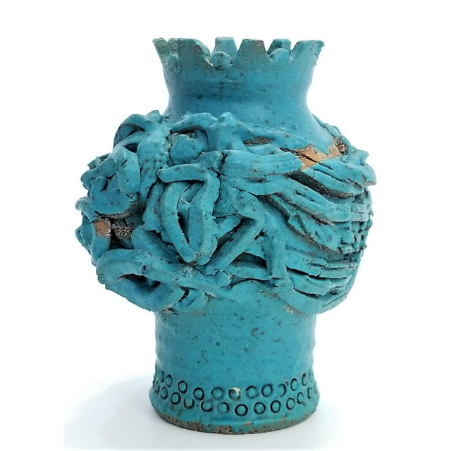 Blue 1970s Studio Art Pottery Ceramic Sculpture Blue Vase by Maurice Grossman-Cubist Mid Century Modern Brutalist Boho Face Bust Abstract MCM Art Deco For Sale - Image 8 of 13