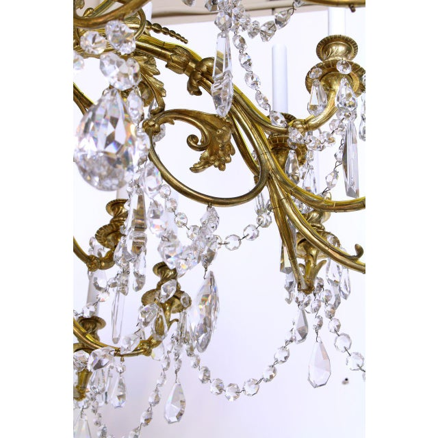Gold French Gilt Bronze and Crystal 36 Light Chandelier For Sale - Image 8 of 9