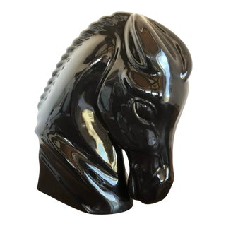 "Haeger Pottery Horse Head Bust Black Stallion 14"" Ceramic Figurine Bust Statue For Sale"
