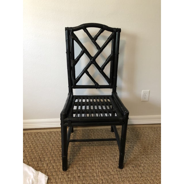 Gorgeous vintage black bamboo side chair. Very heavy and sturdy. Found in an old estate. Made in the 1980s in the style of...