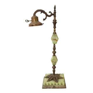 Mid 20th Century Light Green Floral Marble & Brass Lamp For Sale