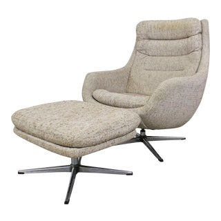 Mid-Century Modern Overman Ab Swedish Chrome Swivel Lounge Chair & Ottoman - a Pair For Sale