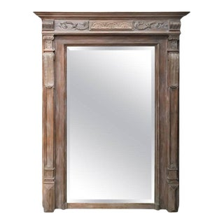 Large 19th Century French Neoclassical Style Cerused Beveled Mirror For Sale
