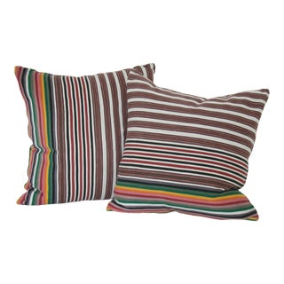 Vintage Striped Multicolor Moroccan Pillows - a Pair For Sale