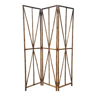 Faux Bamboo Folding Screen For Sale