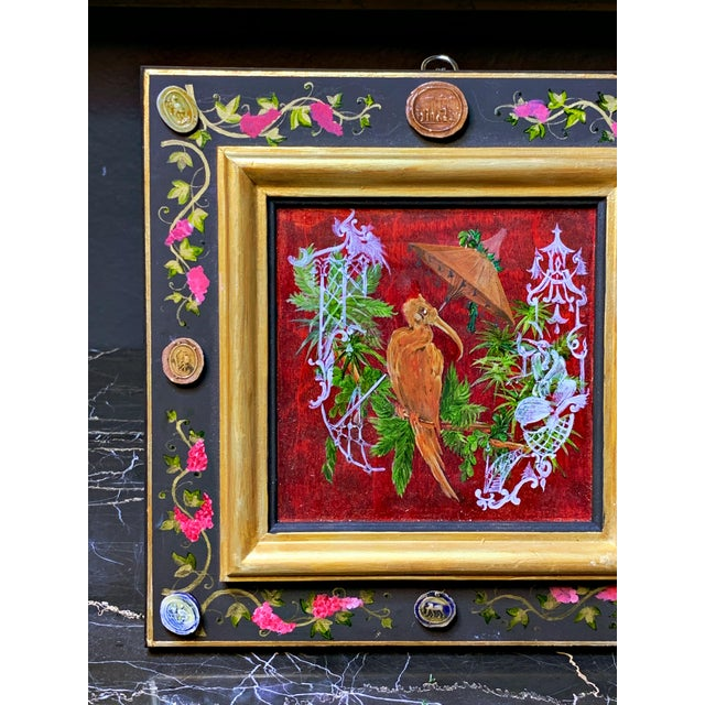 Grand Tour Style Hand Painted Panel With Antique Glazed Italian Cameos by Vramyan For Sale - Image 4 of 7