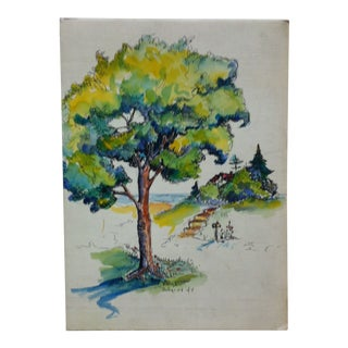 """Original Painting on Board Titled """"Colored Tree"""" by Tiestage For Sale"""