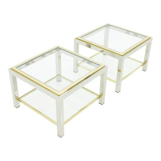 Pair of Chrome, Glass and Brass Side Tables, 1970s For Sale