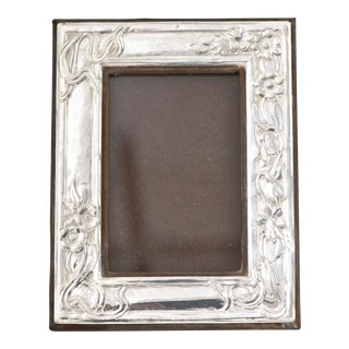 20th Century Art Nouveau Style Floral Sterling Silver Picture Frame For Sale