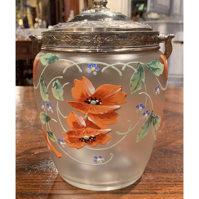 Early 20th Century Silver Plated and Painted Frosted Glass Candy Jar With Lid For Sale - Image 9 of 12