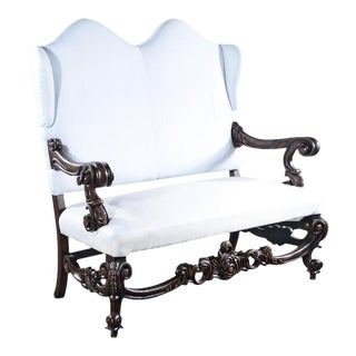 Baroque Rococo Winged Distressed Wood Throne Settee For Sale