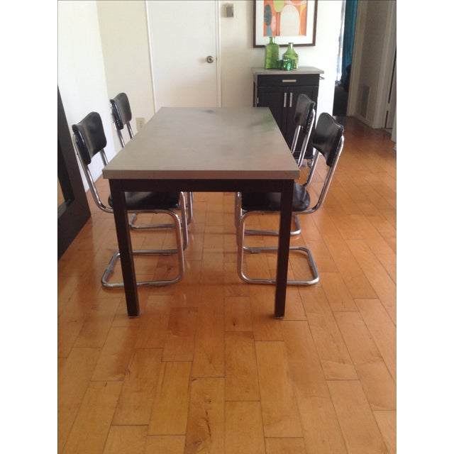 ZGallerie Metal Top Dining Table & Cantilever Chairs Dining Set - Image 8 of 8