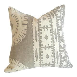 Schumacher Bora Bora Linen Pillow Cover For Sale