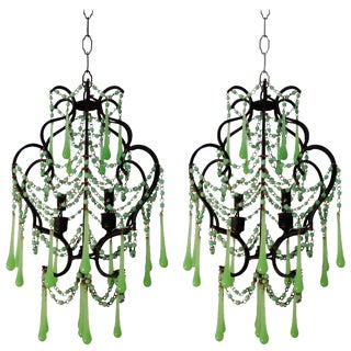 Vintage Pair of French Green Opaline Chandeliers, Circa 1950's