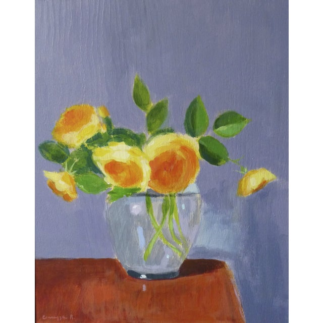 "Original Painting ""Yellow Roses on Red Table"" - Image 1 of 4"