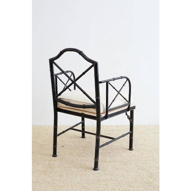 Mid 20th Century Chinese Chippendale Faux Bamboo Iron Garden Chairs For Sale - Image 5 of 13