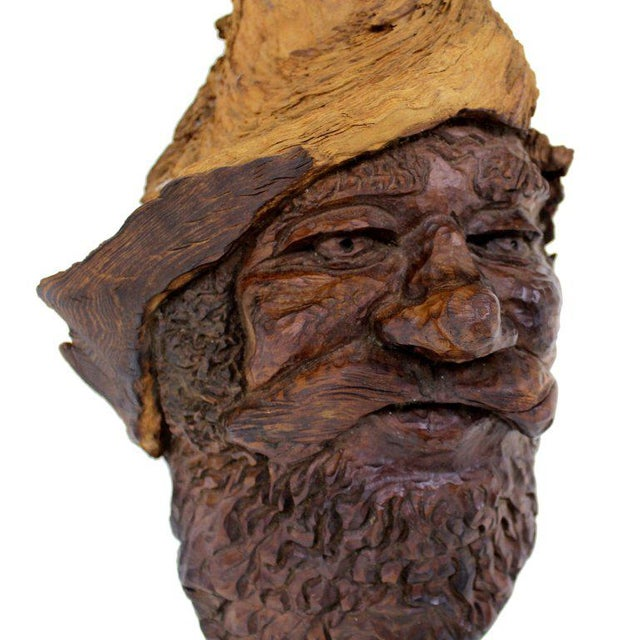 Detailed Burl Wood Carving of an Elf or Gnome Face Sculture - Image 2 of 9