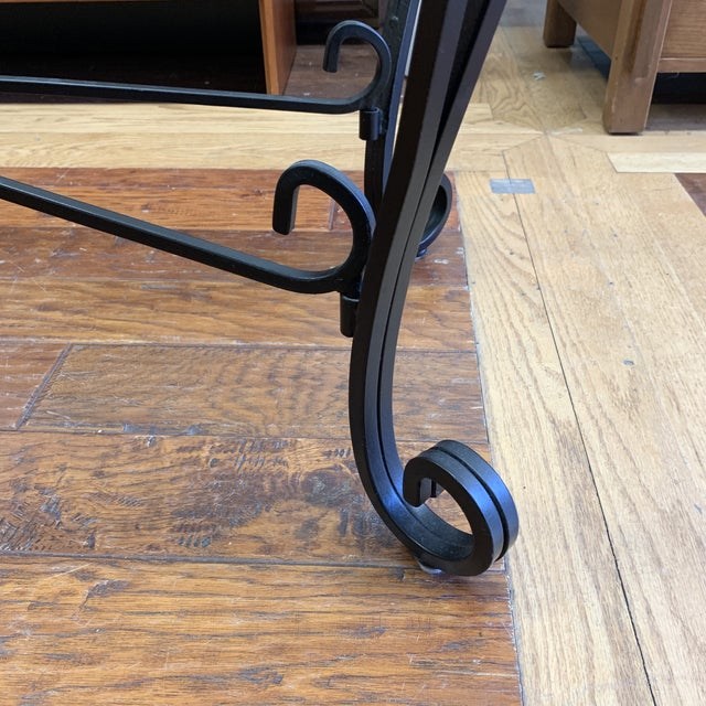 2010s Italian Style Wrought Iron Scroll Base + Glass Console For Sale - Image 5 of 8