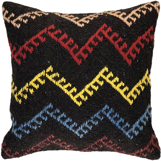 """Mid-Century Modern Eclectic Electric Kilim Pillow 