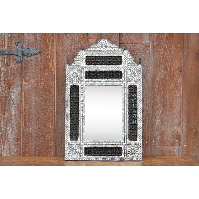 Beautiful Moorish mother of pearl inlay mirror with geometric and floral designs on lattice wood. **Please bear in mind...