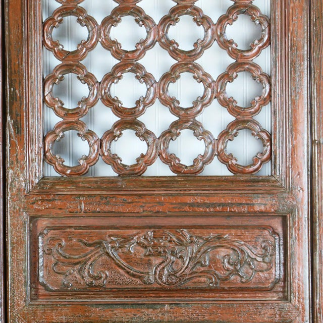 Early 20th Century Antique Chinese Carved Courtyard Doors For Sale In Charlotte - Image 6 of 13