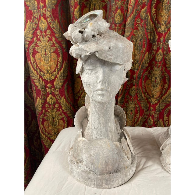 """1990s """"Sea Queen"""" Woman Bust Sea Shell Sculpture For Sale In Palm Springs - Image 6 of 11"""