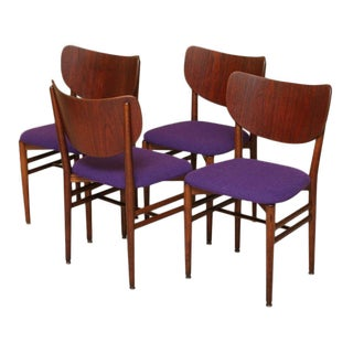 1950s Vintage Eva & Nils Koppel Midcentury Modern Fumed Oak Dining Chairs- Set of 4 For Sale