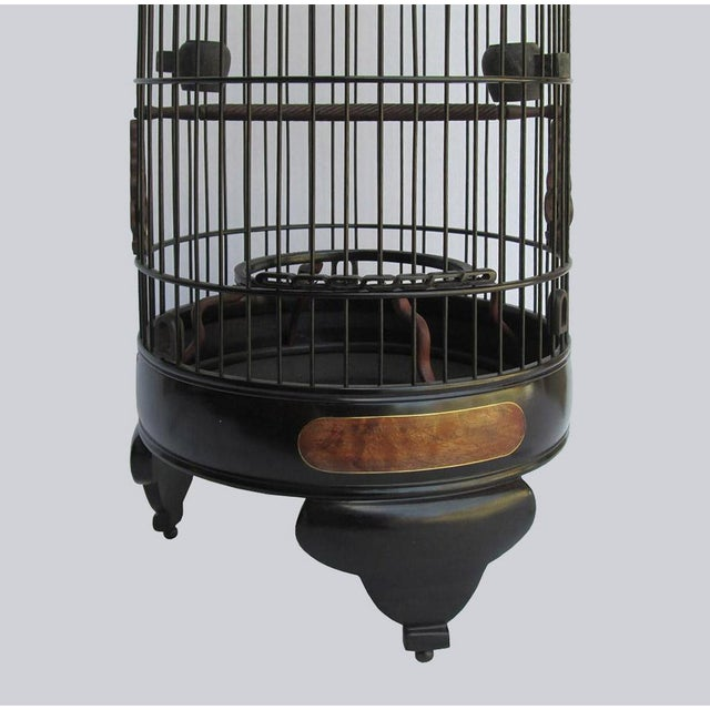 Chinese Handmade Rosewood & Burgh Wood Gold Line Inlay Round Birdcage For Sale In San Francisco - Image 6 of 6