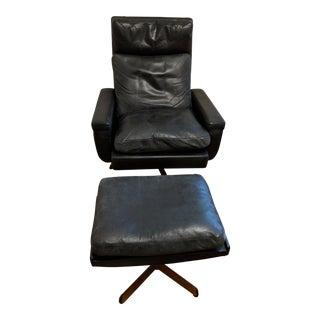 Mid-Century Danish Reclining Swivel Chair & Ottoman