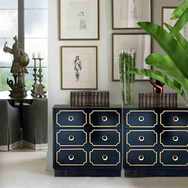 Create a striking room feature with these iconic Dorothy Draper style Espana chests. With black finish and gold trim,...