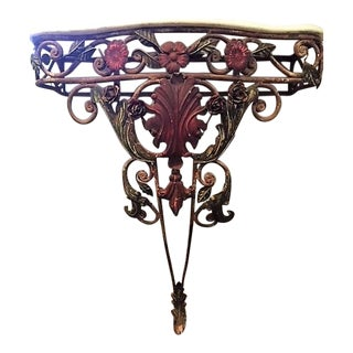 Marble Top Vintage Iron Wall Mounted Console Table For Sale