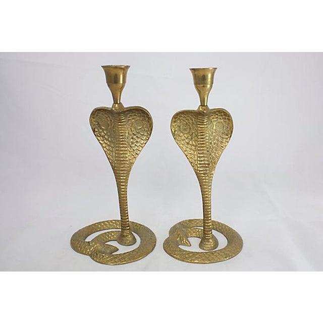 Brass Cobra Candlesticks For Sale - Image 4 of 4