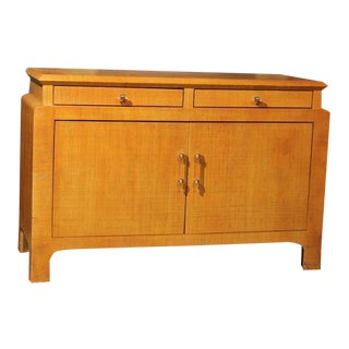 Restored Vintage Raffia Cabinet by Harrison-Van Horn For Sale