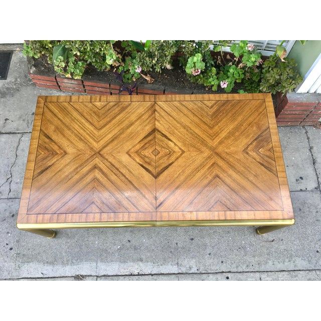 Vintage Brass & Walnut Mastercraft Dining Table For Sale In Los Angeles - Image 6 of 6