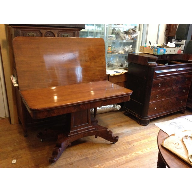 Empire Burl Mahogany Swivel Top Game Table For Sale - Image 13 of 13