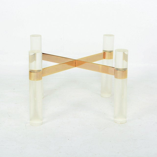 Gold Karl Springer Lucite Brass Hollywood Cocktail Coffee Table Base For Sale - Image 8 of 8