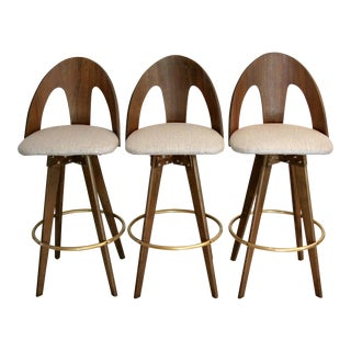 Sculptural Walnut Bentwood Swivel Bar Stools - Set of 3