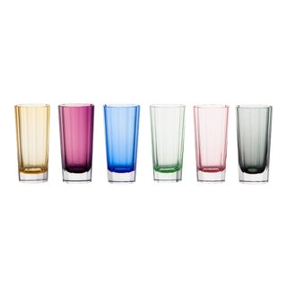 Faceted Highball Glasses, Assorted Colors, Set of 6 (Peridot, Blue, Rose, Purple, Amber, Smoke) For Sale