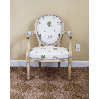 French Louis XVI Style Cream Floral and Green Distress Painted Armchair Preview