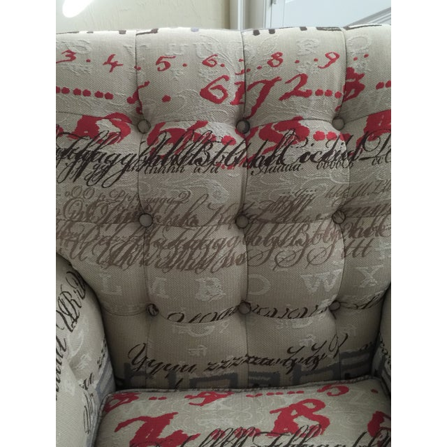 Tufted Calligraphic Upholstered Chair - Image 3 of 6