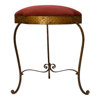 Italian Wrought Iron Gilt Finished Tabouret For Sale