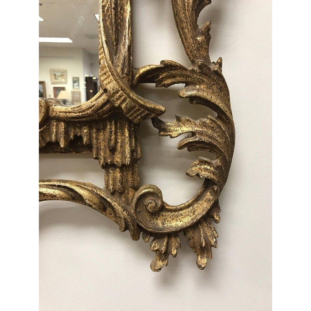 Carved Chinese Chippendale Gold Giltwood Large Pagoda Mirror Made in Italy For Sale In New York - Image 6 of 7