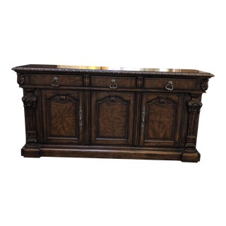 Antique Style Carved Sideboard For Sale